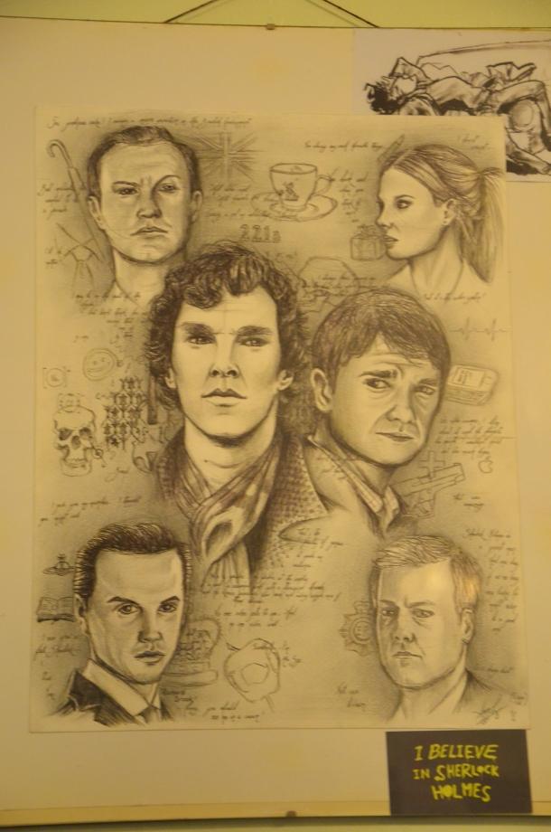 drawing of BBC Sherlock cast