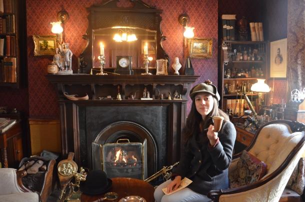 Gaby wearing Sherlock's deerstalker hat
