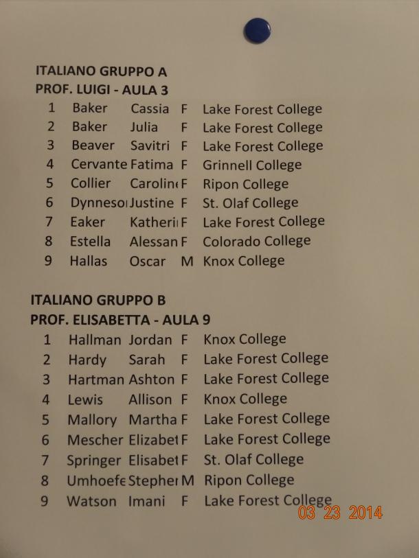 Italian Language class list