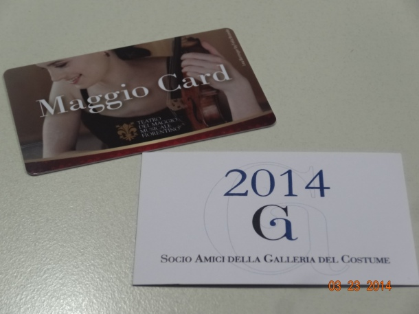 Maggio card (theatre) and Galleria card (museums)